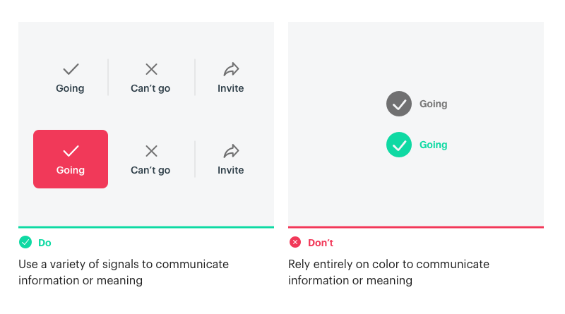 Don't rely on color as the only communication tool